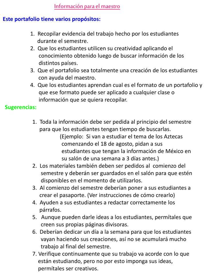 Información para el maestro