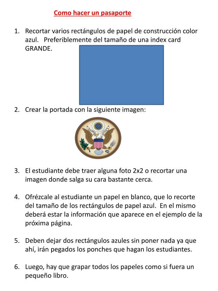 Como hacer un pasaporte