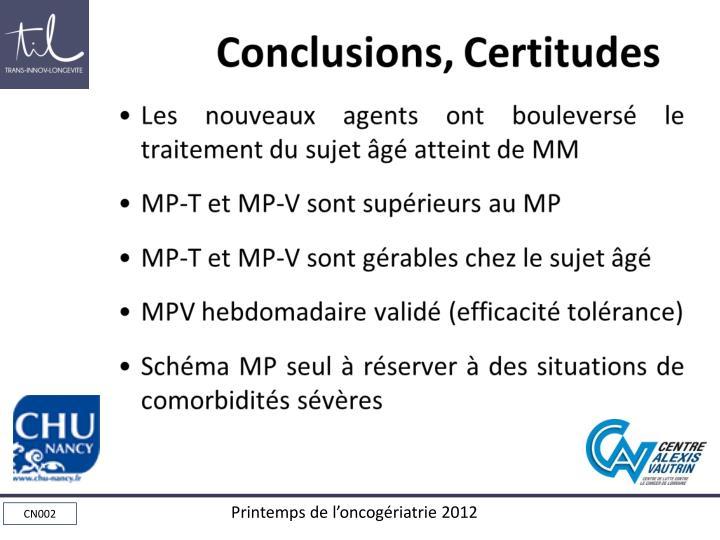 Conclusions, Certitudes