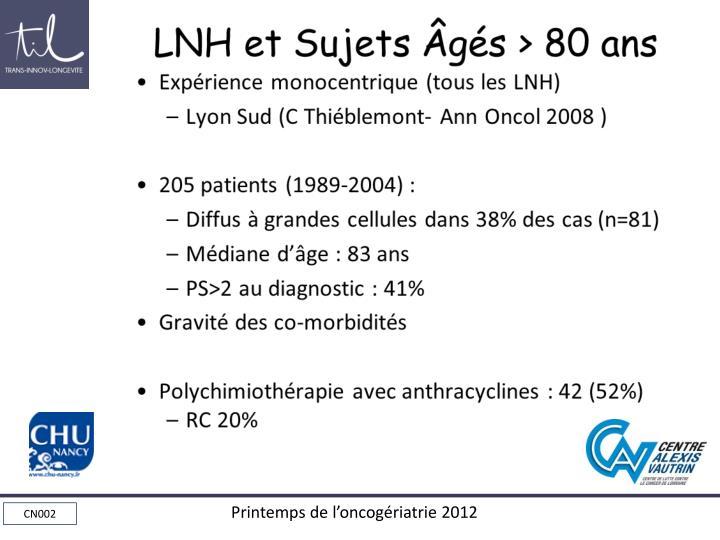LNH et Sujets Âgés > 80 ans