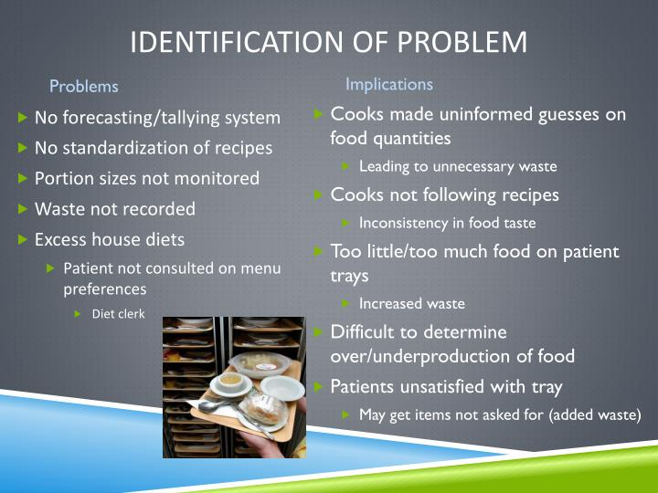 Identification of problem