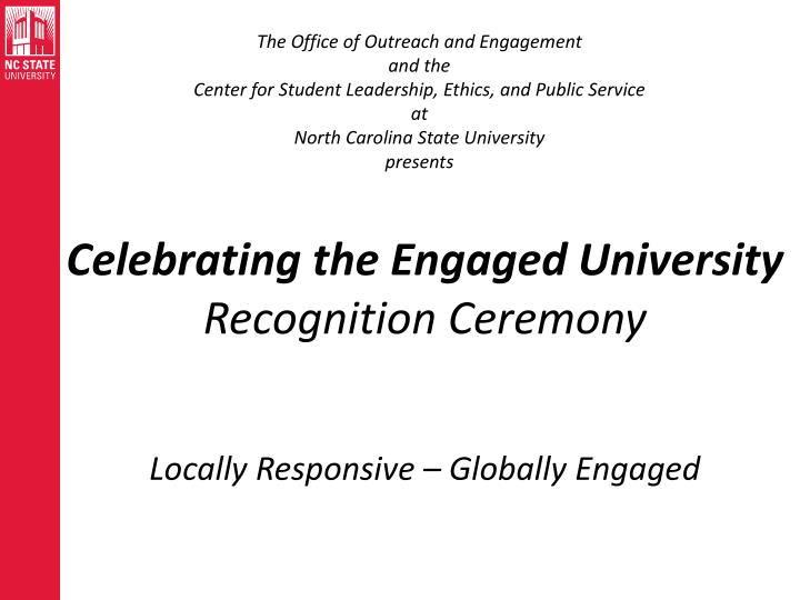 Celebrating the engaged university recognition ceremony