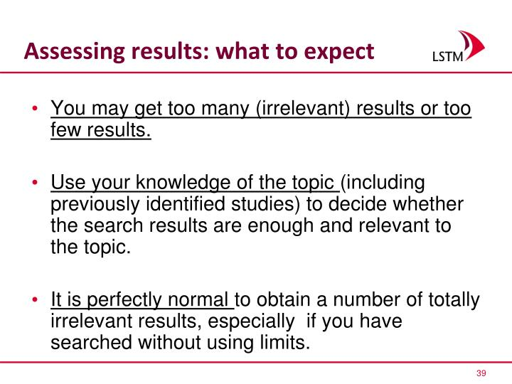Assessing results: what to expect