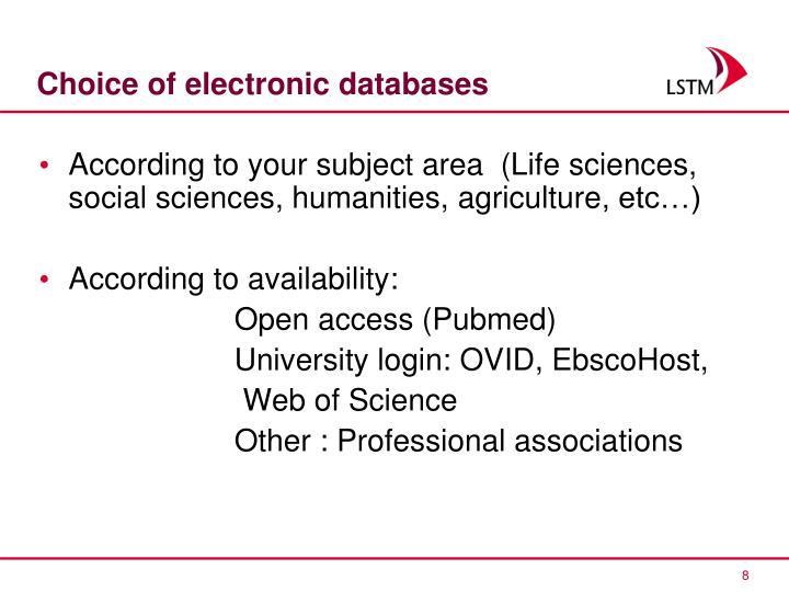 Choice of electronic databases