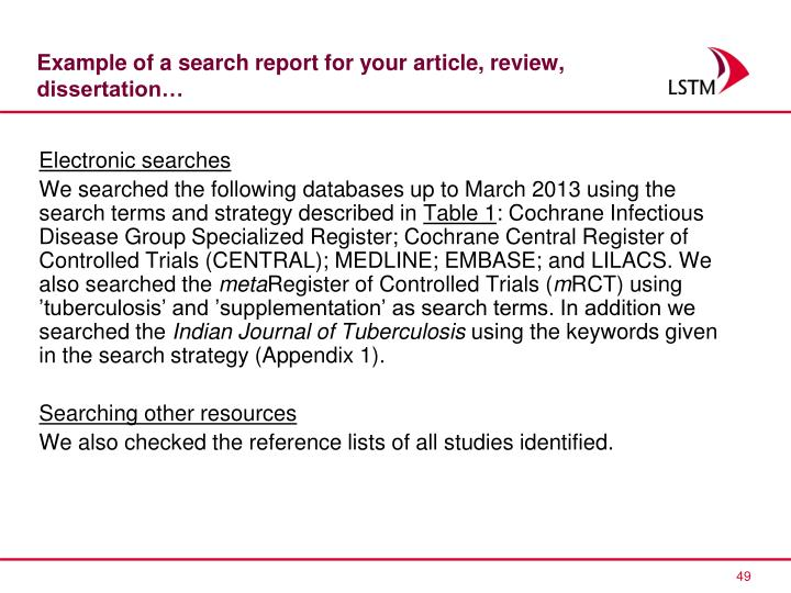 Example of a search report for your article, review, dissertation…