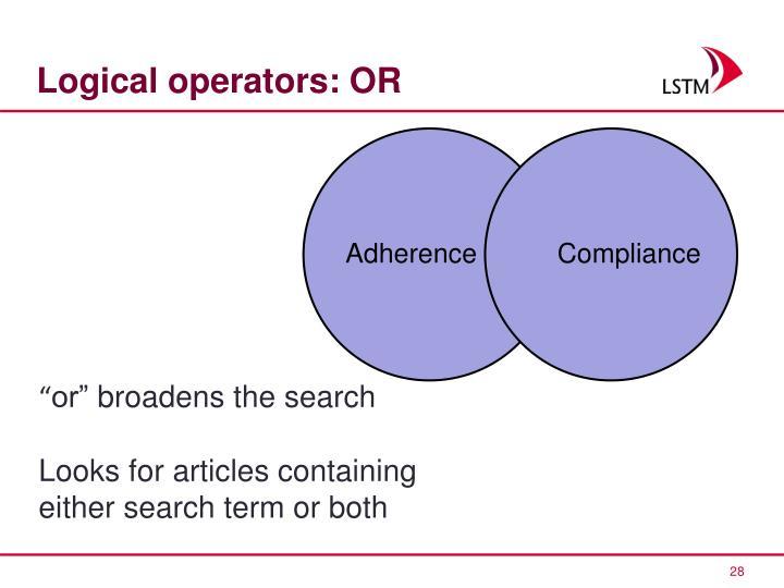 Logical operators: OR