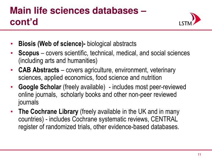 Main life sciences databases – cont'd