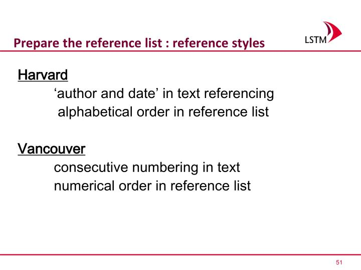 Prepare the reference list : reference styles