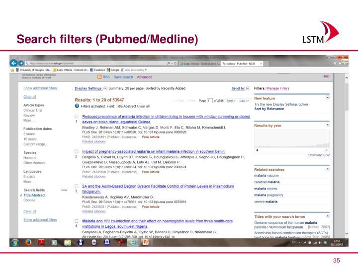 Search filters (Pubmed/Medline)