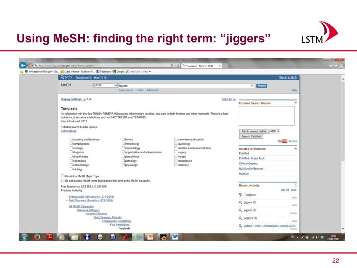 """Using MeSH: finding the right term: """"jiggers"""""""