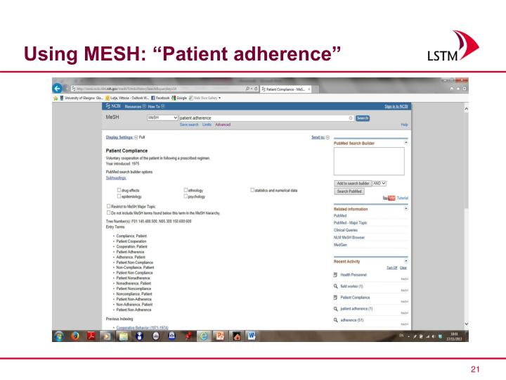 """Using MESH: """"Patient adherence"""""""
