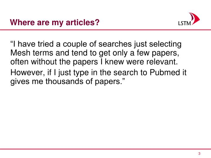 Where are my articles?