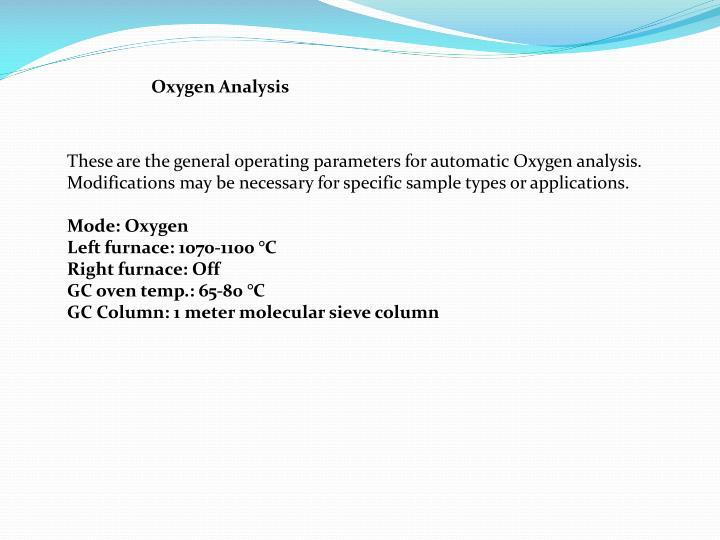 Oxygen Analysis