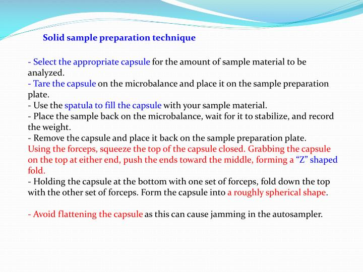 Solid sample preparation technique