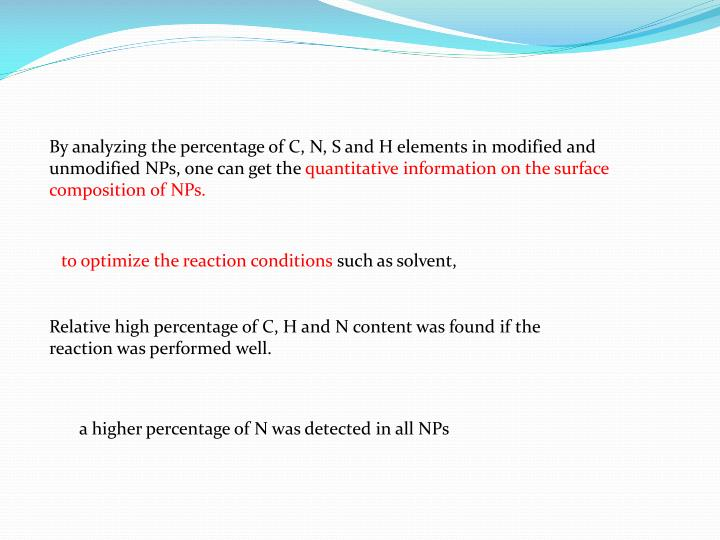 By analyzing the percentage of C, N, S and H elements in modified and unmodified NPs, one can get the