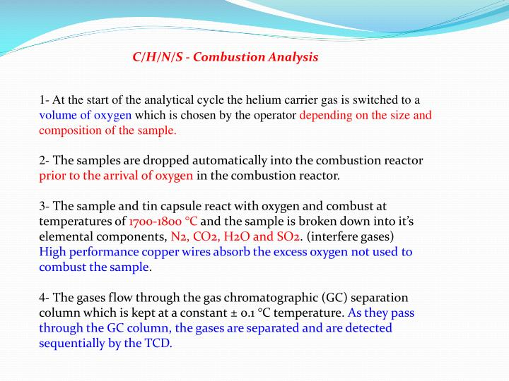 C/H/N/S - Combustion Analysis