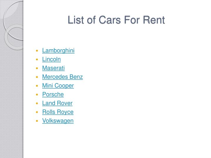 List of Cars For Rent