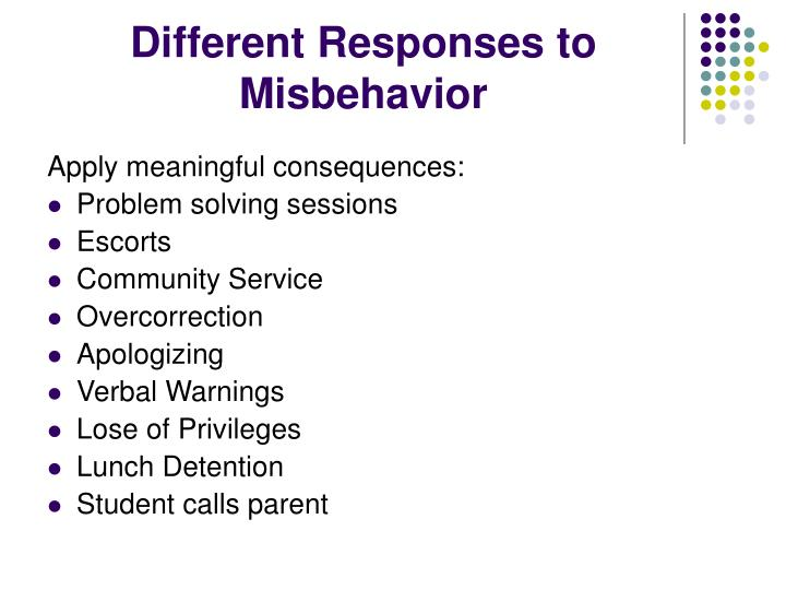 Different Responses to Misbehavior