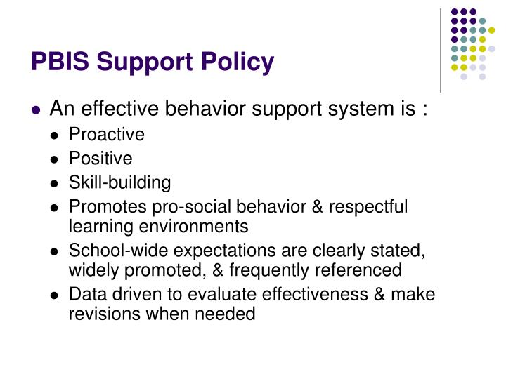 PBIS Support Policy