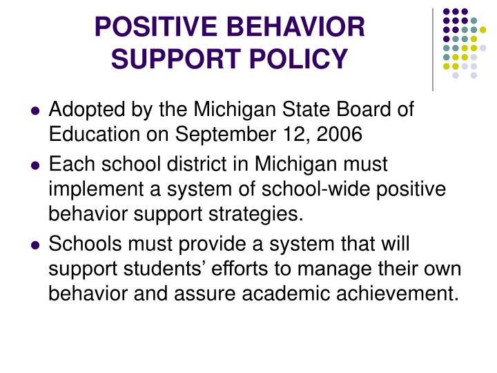 POSITIVE BEHAVIOR SUPPORT POLICY