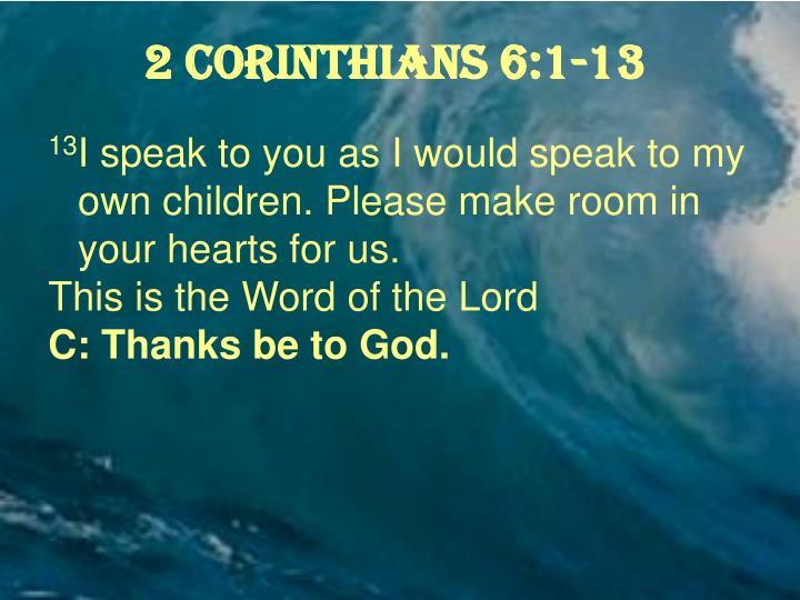 2 Corinthians 6:1-13
