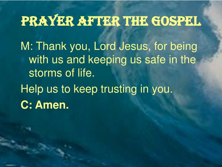 PRAYER AFTER THE GOSPEL
