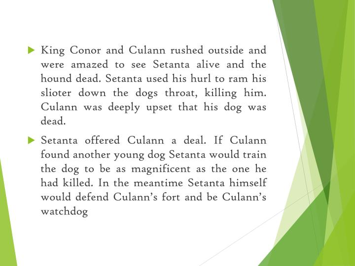 King Conor and Culann rushed outside and were amazed to see Setanta alive and the hound dead.