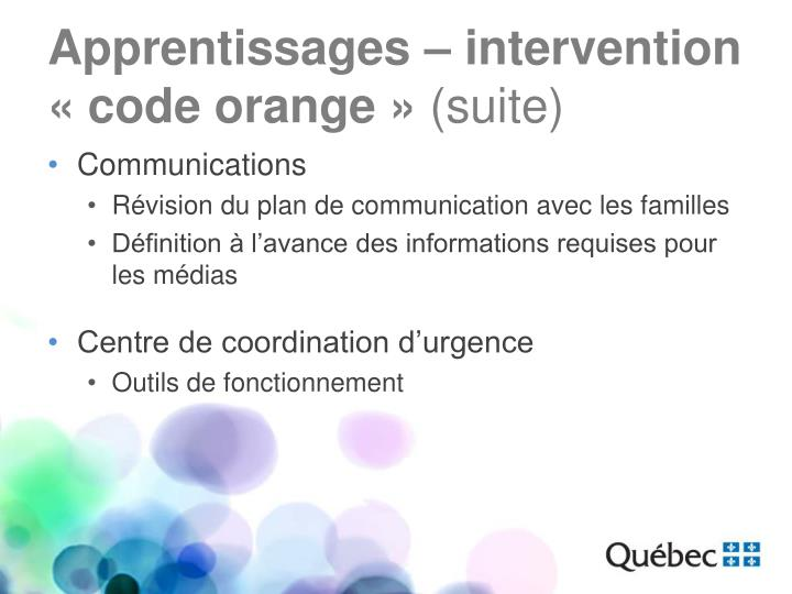 Apprentissages – intervention