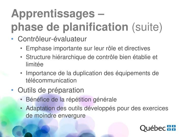 Apprentissages –