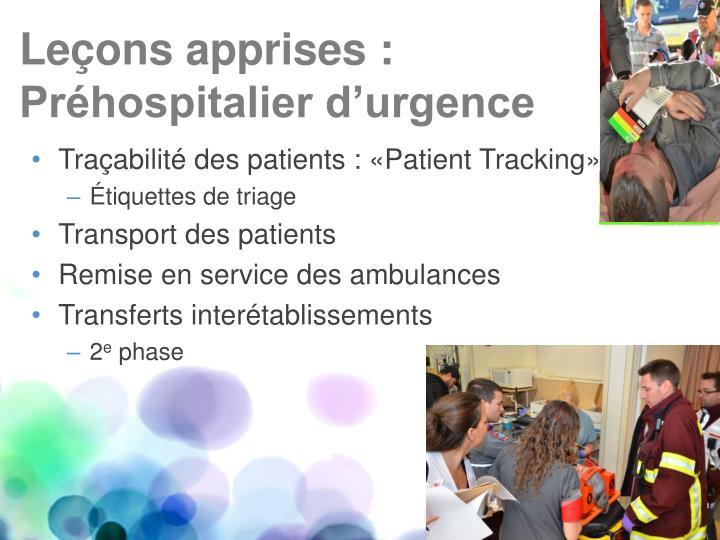 Traçabilité des patients :