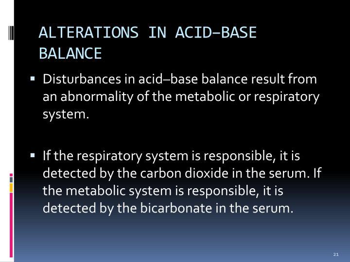 ALTERATIONS IN ACID–BASE BALANCE