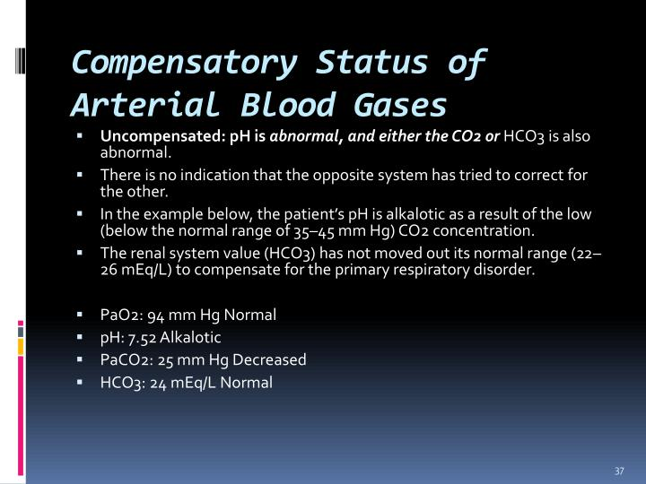 Compensatory Status of Arterial Blood Gases