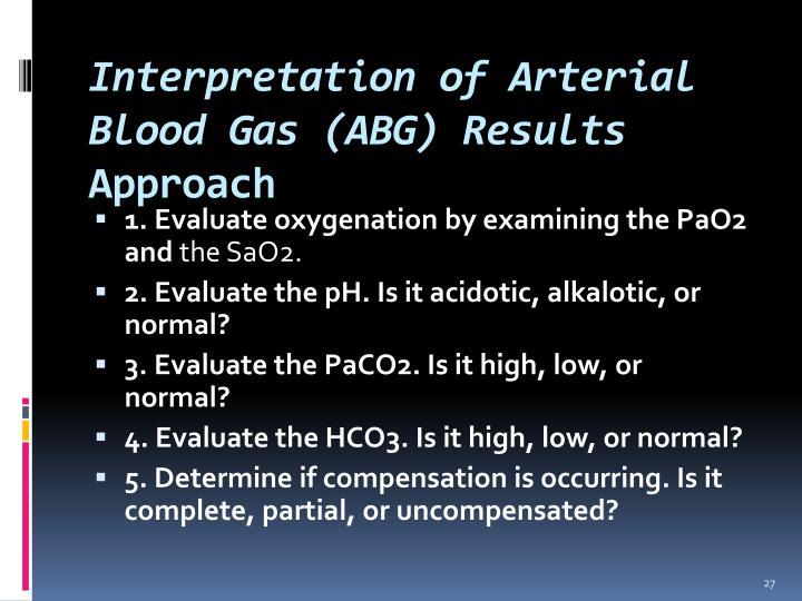 Interpretation of Arterial Blood Gas (ABG) Results
