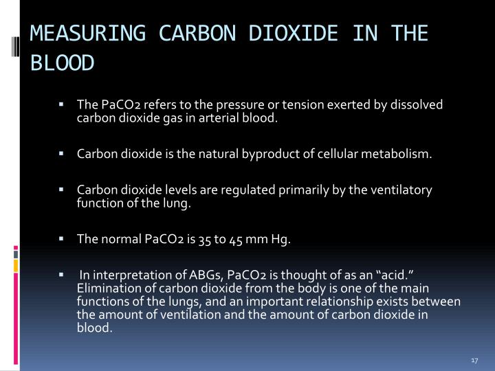 MEASURING CARBON DIOXIDE IN THE BLOOD