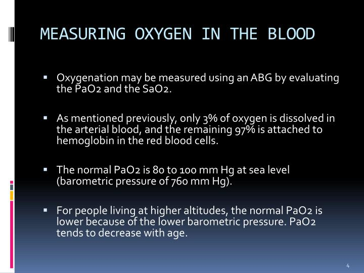 MEASURING OXYGEN IN THE BLOOD