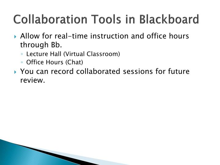 Collaboration Tools in Blackboard