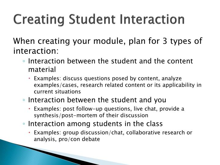 Creating Student Interaction