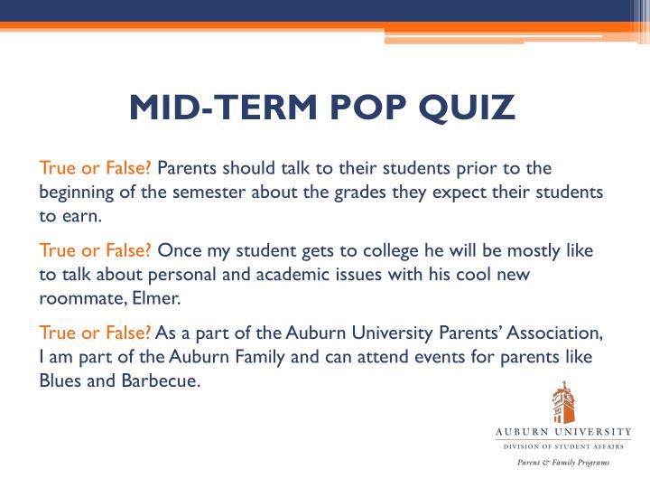 MID-TERM POP QUIZ