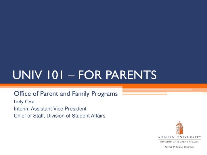 Univ 101 for parents