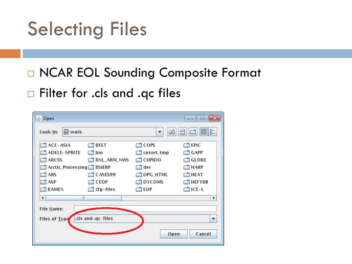 Selecting Files