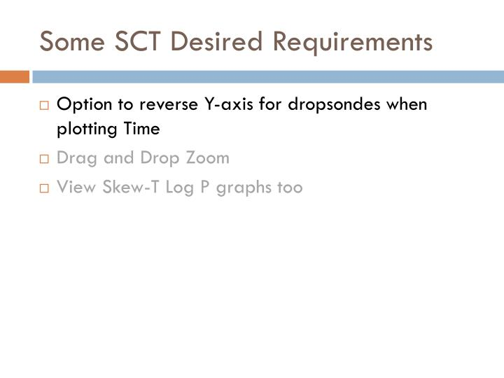 Some SCT Desired Requirements