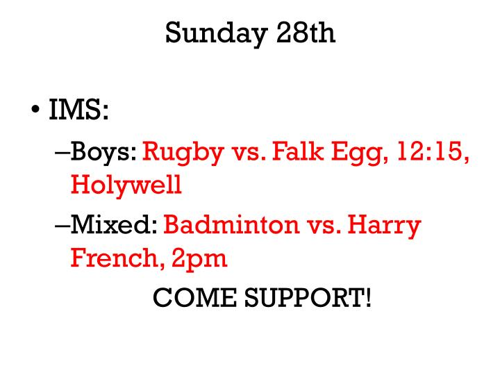 Sunday 28th