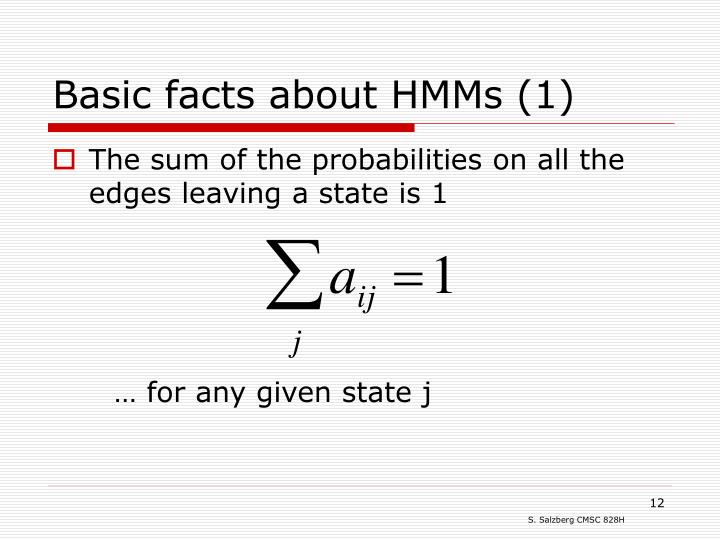 Basic facts about HMMs (1)