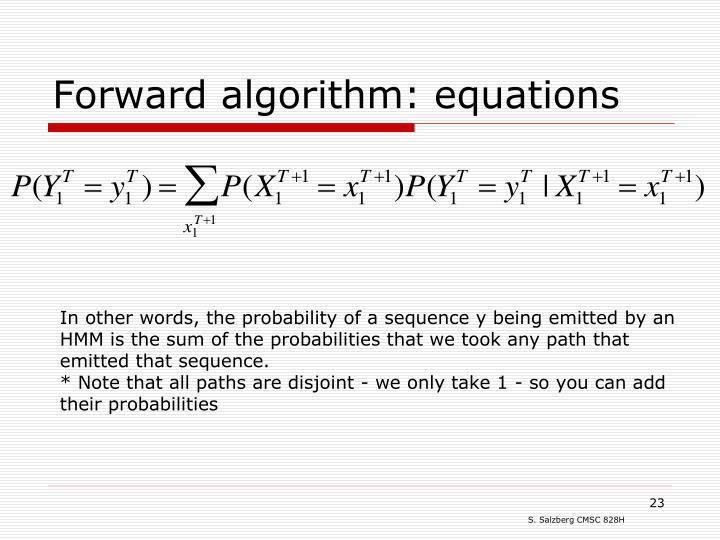 Forward algorithm: equations