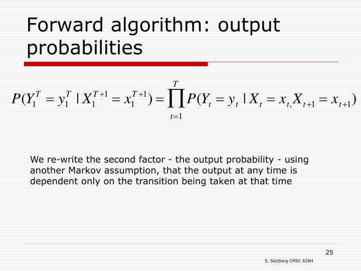 Forward algorithm: output probabilities