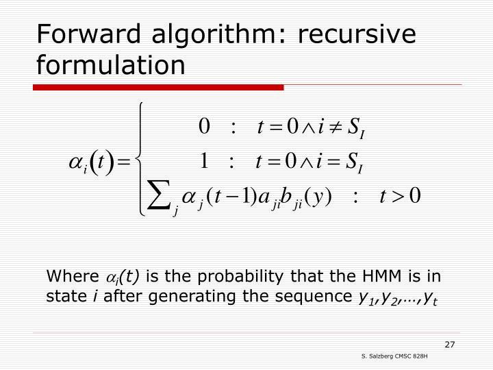 Forward algorithm: recursive formulation