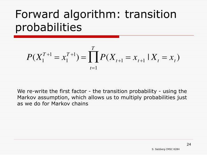 Forward algorithm: transition probabilities