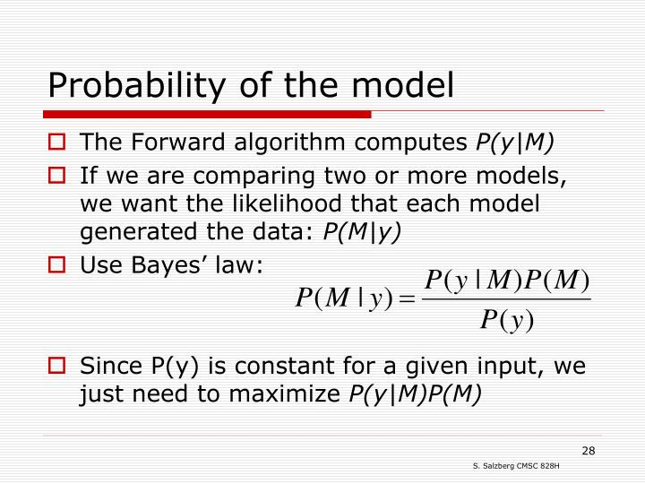 Probability of the model