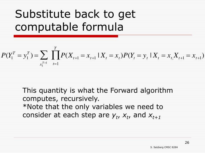 Substitute back to get computable formula