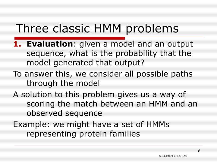 Three classic HMM problems